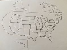 Senator Al Franken Drew A Freehand Map Of The United States For - How to free hand a map of the us