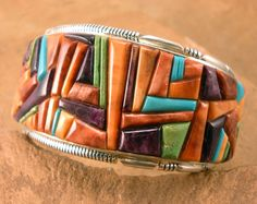 Bracelet | Thomas Francisco Navajo, Sterling silver, Gaspeite, Sleeping Beauty Turquoise, & orange, red, & purple Spiny Oyster.