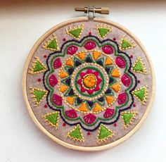 Boho Embroidery I finally put up this little mandala embroidery into a hoop yesterday. it was on my mind for ages! I'm so glad it fits so snug. Diy Embroidery Machine, Cushion Embroidery, Embroidery Hoop Crafts, Hand Embroidery Videos, Hand Embroidery Flowers, Hand Work Embroidery, Creative Embroidery, Hand Embroidery Stitches, Embroidery Techniques