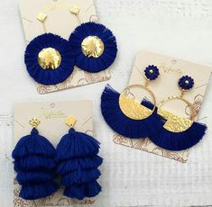 "Comment ""yes"" if you like it?Comment ""yes"" if you like it? Diy Tassel Earrings, Tassel Jewelry, Fabric Jewelry, Cute Jewelry, Beaded Earrings, Earrings Handmade, Jewelry Crafts, Beaded Jewelry, Jewelery"