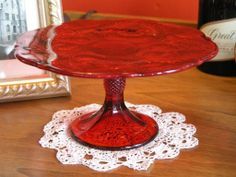 "9"" Ruby Red Glass Inverted Thistle Pattern Cake Stand  $40.00 www.CakeStandsGallery.com"