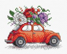 Modern Cross Stitch Embroidery Kit Road to Paris Flowers Russian Manufacture Inspirational Embroider Cross Stitch Charts, Counted Cross Stitch Patterns, Cross Stitch Designs, Cross Stitch Embroidery, Hand Embroidery, Simple Cross Stitch, Modern Cross Stitch, Cross Stitch Flowers, Easy Cross