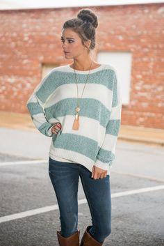Fuzzy Fun Sweater, Sage-White