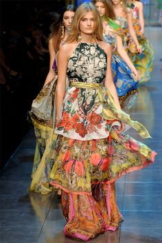 Mixed Prints - tiered dresses with colourful clashing sheer fabric - florals, paisley, ornate, exotic - bold pattern fashion // Dolce & Gabbana