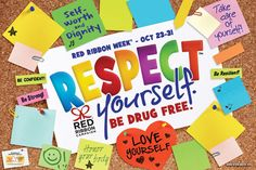 """Hanging Respect Yourself. Be Drug Free. Posters around school is a great way to get the message across during Red Ribbon Week    Show your support anywhere around the school. Hang this laminated poster in classrooms, hallways, even the auditorium during Red Ribbon Week. Size: 12"""" x 18"""". We have other great Red Ribbon Week items with this great theme, """"Respect Yourself. Be Drug Free"""" Please check out more of our best selling Red Ribbon Week products."""