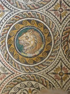 Detail of the splendid mosaic called the Triumph of Bacchus found in one of the villas, Museum of Sabratha, Libya