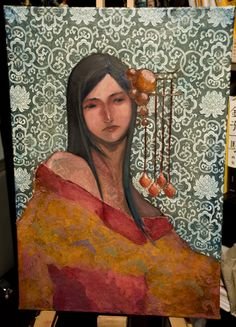"""""""The Portrait"""" - By Nuu on Deviantart.  The patterns in the background and the way it subtly shows through the figure's skin and a second pattern is present in the golden orange of her clothes is beautiful."""