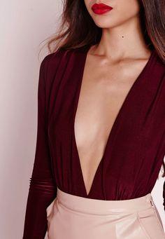 Missguided - Slinky Deep Plunge Bodysuit Burgundy