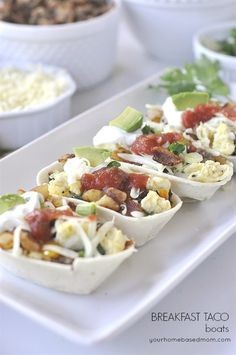 Breakfast Taco Boats would be perfect for breakfast or dinner! Breakfast Taco Boats would be perfect for breakfast or dinner! Breakfast Tacos, Breakfast On The Go, Breakfast Time, Best Breakfast, Breakfast Dishes, Breakfast Specials, Delicious Breakfast Recipes, Brunch Recipes, Dinner Recipes
