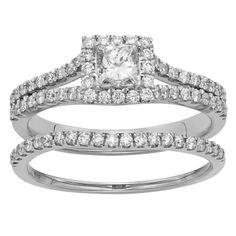 1 110 Carat Princess Cut Diamond Halo Engagement Wedding Ring Set