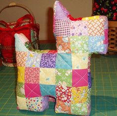 Sunshine in the Attic: Patchwork Scottie Dog Pillow and tutorial Updated