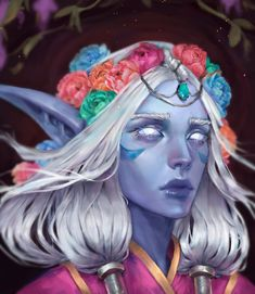 Night elf with flower crown
