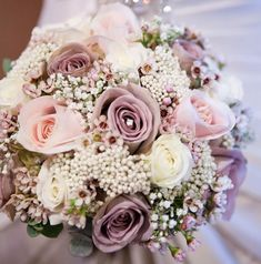 Image result for bridal bouquet with pink and baby's breath