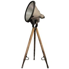 Stadium Light On Wooden Tripod   Germany   mid 20th century