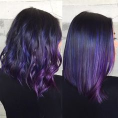 Purple hair sew ins hairstyles with color . Purple hair sew ins hairstyles with color Purple Hair Highlights, Dark Purple Hair, Purple Balayage, Violet Hair, Hair Color Purple, Hair Color Balayage, Cool Hair Color, Purple Ombre Hair Short, Purple Wig