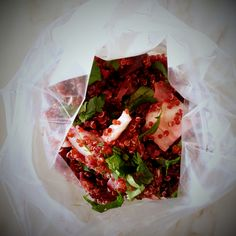 quinoa, fennel and roasted beetroot salad all ready to eat on board. @ mytinygreenkitchen.com