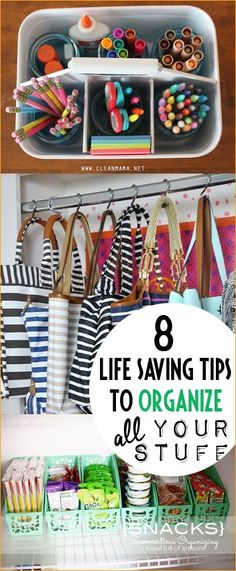 8 Life Saving Tips to Organize all Your Odds N' Ends.  Keep things in place and easy to grab.  Organizing shoes, purses and snacks on a dime.