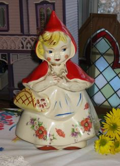 Antique cookie jar ~ little red riding hood. My Jar is from Ottavia Fini and is the rare one with gold trim.
