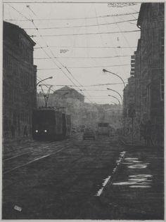 Mikael Kihlman, Blue II, drypoint, 60x45 cm, 2007