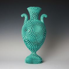 Tall Bloom, laser-sintered in Nylon with non-fired ceramic coating. 3d Printer Designs, Ceramic Coating, Elle Decor, Ceramic Art, 3d Printing, Objects, Bloom, Clay, Vase