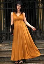 Shoulder Stiching Slim Long Dress Yellow $49