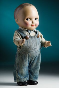 "1930's Buddy Lee 13"" composition doll in original denim jeans overalls outfit"