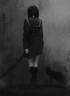 grafika anime, dark, and cat Dark Anime Girl, Anime Art Girl, Anime Boys, Anime Triste, Art Manga, Chica Anime Manga, Arte Horror, Creepy Art, Sad Anime