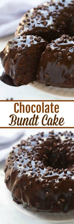 A moist, slightly dense and perfectly tender chocolate bundt cake with chocolate chips and smothered in chocolate ganache.| tastesbetterfromscratch.com