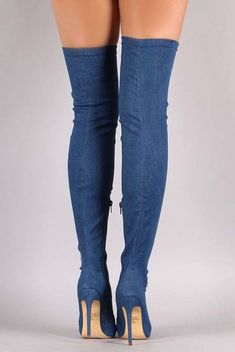 These over-the-knee boots feature a fabric denim upper and thin stiletto denim covered heel. Finished with a cushioned insole, and partial side zipper closure for easy on/off. Thigh High Boots, High Heel Boots, Over The Knee Boots, Heeled Boots, Stiletto Heels, Shoes Heels, Hot High Heels, Long Boots, Sexy Boots