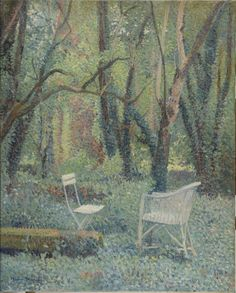 Henri Martin (French, 1860-1943), Chaises sous les arbres à Marquayrol [Chairs under the trees at Marquayrol]. Oil on canvas, 81 x 65 cm.