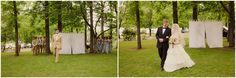 Love the idea of creating a seperate area in an open space to keep the first look at the bride a surprise!