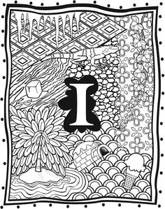 Welcome to Dover Publications Adult Coloring Pages, Coloring Sheets, Coloring Books, Letter Art, Alphabet Letters, Dover Publications, Alphabet Coloring, Colour Board, Cute Drawings