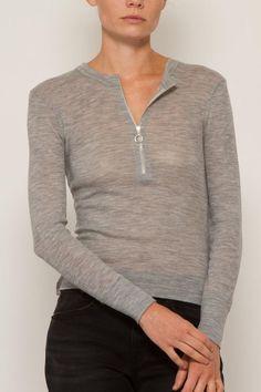 T BY ALEXANDER WANG Long Sleeve Top With Zip Half Placket. #tbyalexanderwang #cloth #