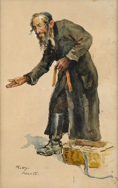 Kley, Heinrich 1863 Karlsruhe - 1945 München Jüdischer Hausierer. Signiert. Datiert: Polen (19) 15.