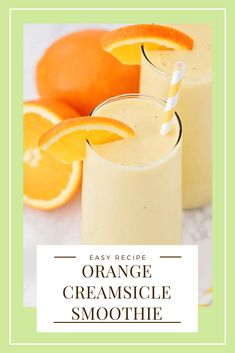 This sweet and refreshing orange creamsicle smoothie is perfect for an easy breakfast or afternoon snack! Filled with fruit and yogurt, it's a healthy and flavorful way to enjoy your favorite frozen creamsicle drink! Orange Creamsicle Smoothie Recipe, Berry Smoothie Recipe, Orange Smoothie, Fruit Smoothie Recipes, Yummy Smoothies, Smoothie Drinks, Drink Recipes Nonalcoholic, Fancy Drinks, Orange Recipes