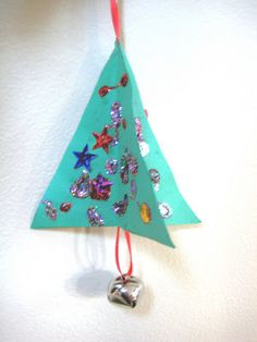 3D Paper Kids Christmas Ornaments | Christmas crafts for kids that can be used to decorate the tree.