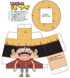 One Piece - Monkey D. Luffy The Pirate Paper Toy - by Hiyochico - == -  Created by Japanese designer Hiyochico, this is a very easy-to-build paper toy version of Monkey D. Luffy, the pirate leader of the Straw Hats, from One Piece, Japanese anime and mangá series.