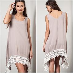 Crochet Tank Dress High Low Tank Dress with crochet hem Dresses