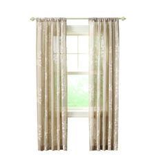 Home Decorators Collection Linen Leaf Embroidery Rod Pocket Curtain - 50 in. W x 108 in. L