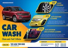 Buy Car Wash by monggokerso on GraphicRiver. Car Wash Flyer File Features : Size + Bleed area CMYK / 300 dpi Easy to edit text Well organized PSD fil. Car Repair Service, Auto Service, Car Wash Posters, Car Wash Business, Car Wash Services, Flyer Printing, Car Advertising, Advertising Design, Car Drawings