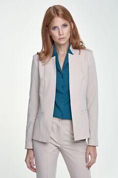 cc02ea7ae3cef Veste ouverte beige taille 40 femme de tailleur costume coupe originale NIFE  Z18