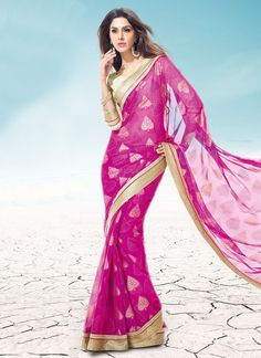 Royal Magenta Chiffon Saree #saree #sari #blouse #indian #outfit  #shaadi #bridal #fashion #style #desi #designer #wedding #gorgeous #beautiful
