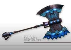 Tech-Knight's Mechaxe (appears on the back when not flying w/ Winged Thrusters) Zombie Weapons, Anime Weapons, Sci Fi Weapons, Armor Concept, Weapon Concept Art, Weapons Guns, Fantasy Sword, Fantasy Weapons, Fantasy Rpg