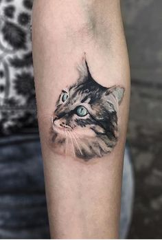 Contact Serkan directly - New Sites Cat Face Tattoos, Cat Portrait Tattoos, Big Cat Tattoo, Black Cat Tattoos, Animal Tattoos, Body Art Tattoos, Tasteful Tattoos, Subtle Tattoos, Cat Tattoo Designs