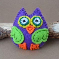 Purple Owl Felt Brooch, Pin. $12.00, via Etsy.