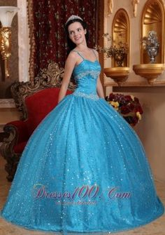 Puffy Blue Ball Gown Spaghetti Straps Floor-length Sequined Beading Quinceanera Dress