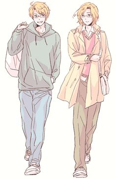 Hetalia (ヘタリア) - America & Canada. Artist unknown. If you are the artist or know the artist please let me know so I can credit properly or take this art down from my board if you wish. <<