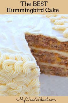 This Moist and Delicious Southern Hummingbird Cake Recipe is the best! Ultra moist and filled with so much flavor from bananas, crushed pineapple, and hint of cinnamon. Fall Cake Recipes, Banana Recipes, Picnic Recipes, Fruit Recipes, Diabetic Recipes, Sweet Recipes, Pear And Almond Cake, Almond Cakes, Mini Cakes