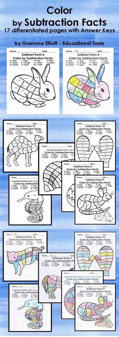 """""""Color by Subtraction Facts"""" pages are great for reinforcing basic facts. The pages differ in difficulty and focus, but all are basic subtraction facts. Use these in a center, with a tutor, individual practice. You may make a packet for summer practice. Hand them out on those last days when students need meaningful and fun activities. The extra pages of leaves, egg, and fish that have no numbers are for your use if you wish to add numbers or words, or a younger child may wish to color."""