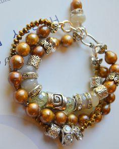 ON SALE bracelet, artisan bracelet, citrine bracelet, artisan bead bracelet, multi strand bracelet, christmas for her, artisan, chalcedony